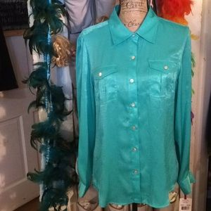 Woman's Ruby Rd Turquoise Long Sleeve Blouse